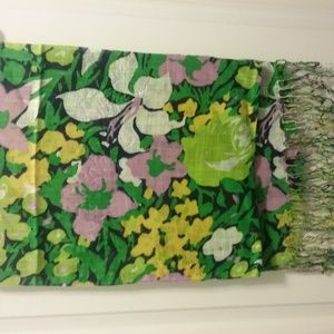 Floral Print Fringed Scarf